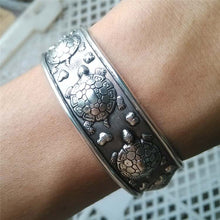 Load image into Gallery viewer, Save Sea Turtle Jewelry | Tibetan Silver Sea Turtle Bracelet-seaxox.com