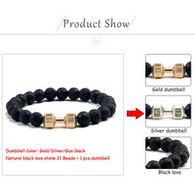 Load image into Gallery viewer, Save Ocean Animals Jewelry | Dumbbells Bracelet Lava Stone-seaxox.com
