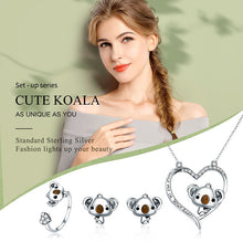 Load image into Gallery viewer, Designer 925 Sterling Silver, Save the Koalas Necklace Ring Earrings Set-seaxox.com