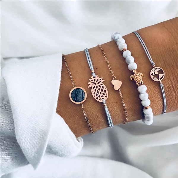 Save Sea Turtle Jewelry | Sea Turtle Honu Stack Bracelet-seaxox.com