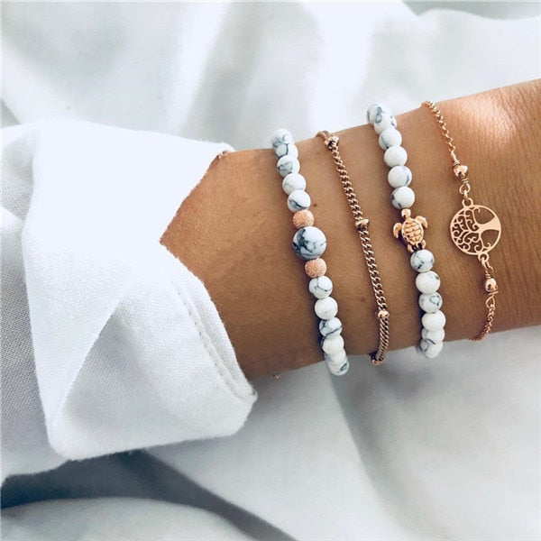 Save Sea Turtle Jewelry | Sea Turtle Lover Stack Bracelet-seaxox.com