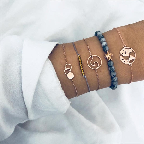 Save Sea Turtle Jewelry | Sea Turtle Wave Stack Bracelet-seaxox.com