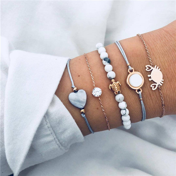 Save Sea Turtle Jewelry | Sea Turtle Cove Stack Bracelet-seaxox.com