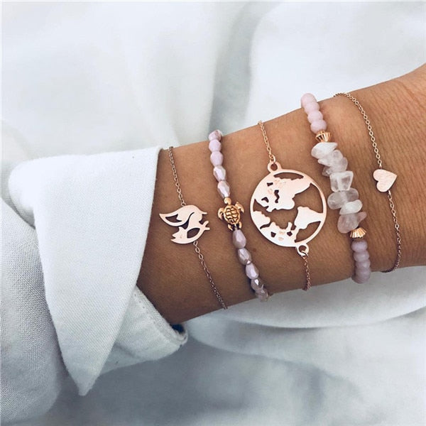 Save Sea Turtle Jewelry | Sea Turtle Think Pink Stack Bracelet-seaxox.com