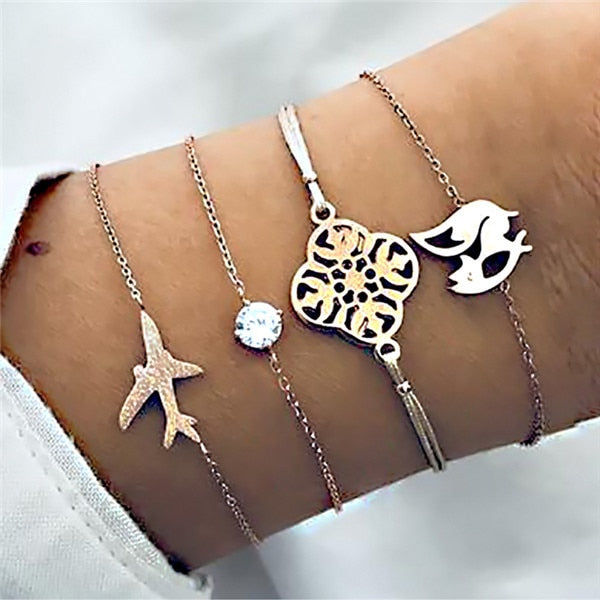 Save Sea Life Jewelry Diamond Travelers Club Boho Vintage Multilayer Charm Bracelet-seaxox.com