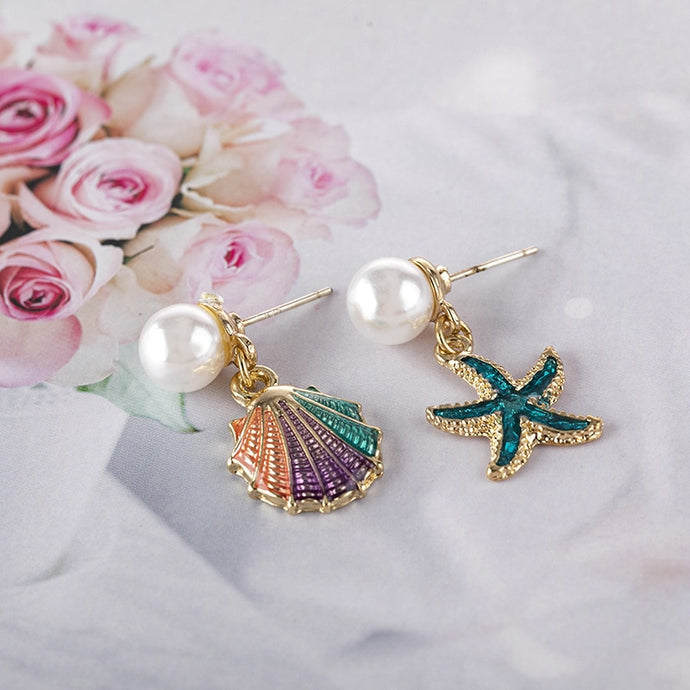 Save Sea Life Jewelry | SeaShell Starfish Drop Glaze Stud Earrings-seaxox.com