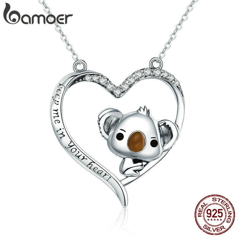 Ocean Charity Jewelry | 925 Sterling Heart Save Koala Necklace-seaxox.com