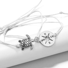 Load image into Gallery viewer, Save the Ocean Jewelry Compass Sea Turtle Wave Pendant Chain Bracelets Set-seaxox.com