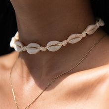 Load image into Gallery viewer, Save the Turtles Jewelry White Rope Chain Natural Seashell Choker Necklace