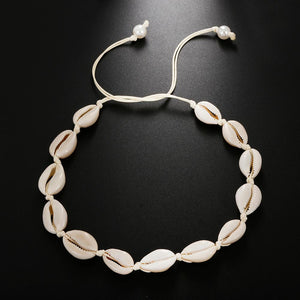 Save the Turtles Jewelry White Rope Chain Natural Seashell Choker Necklace