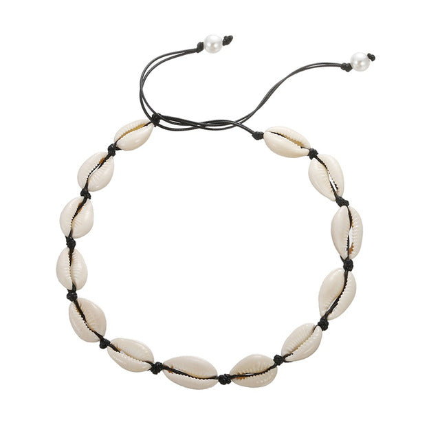 Save Sea Life Jewelry | Seashell Black Rope Natural Choker-seaxox.com