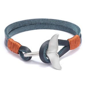 Save the Whales Jewelry | Luxury Leather Whale Tail Bracelet