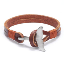 Load image into Gallery viewer, Save the Whales Jewelry | Luxury Leather Whale Tail Bracelet