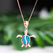 Load image into Gallery viewer, Save Sea Turtle Jewelry | 925 Sterling Sea Turtle Necklace Opal-seaxox.com