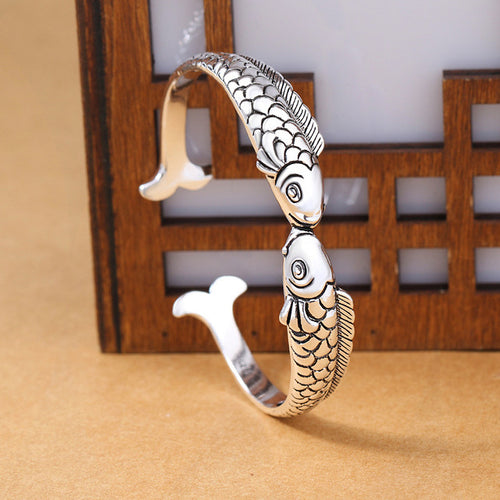Save the Ocean Jewelry 925 Sterling Tibet Kissing Fish Bracelet-seaxox.com