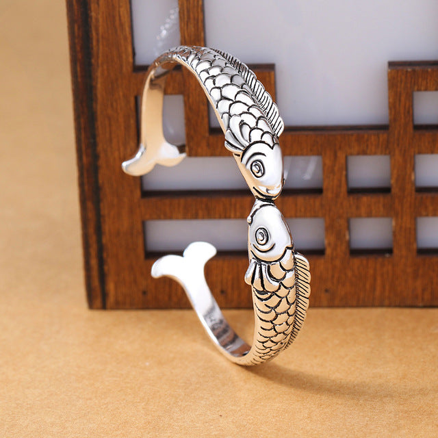 Save Ocean Animals Jewelry | Sterling Kissing Fish Bracelet-seaxox.com
