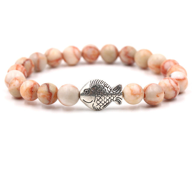 Ocean Charity Jewelry | Silver Fish Volcanic Stone Bracelet 10 Colors-seaxox.com