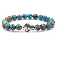 Load image into Gallery viewer, Ocean Charity Jewelry | Malachite Fish Bead Bracelets-seaxox.com