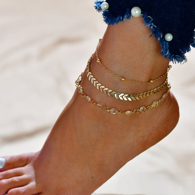 Beach and Ocean Life Jewelry Multi Rings Stylish Retro Chic Anklet Set-seaxox.com