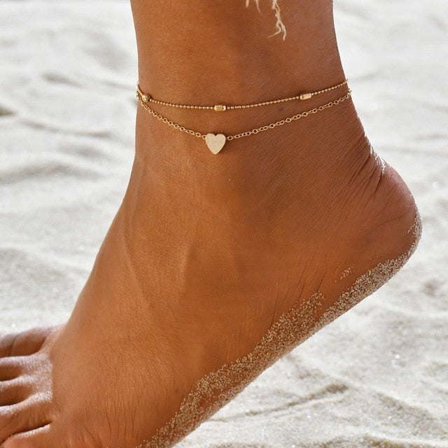 Beach and Ocean Life Jewelry Minimalist Dainty Duo with Pretty Heart Anklet-seaxox.com