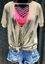 Load image into Gallery viewer, Boho Women Sunflower Cut Out Aesthetic Apricot Vintage Hollow Out Tee Top 6 STYLES
