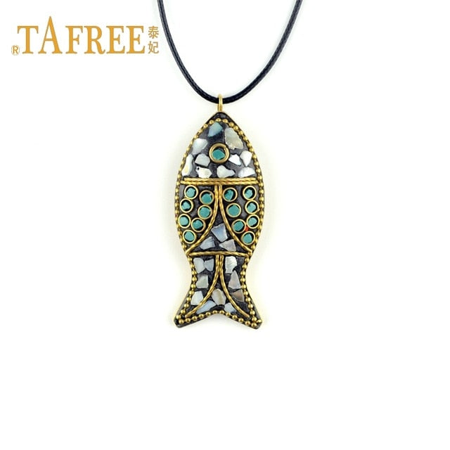Ocean Charity Jewelry Nepal Handmade Fish Necklace Black Cord Chain