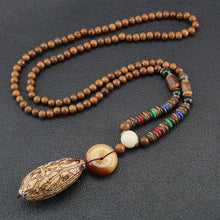 Load image into Gallery viewer, Ocean Charity Jewelry Vintage Mala Wood Bead Handmade Nepal Fish Necklace-seaxox.com