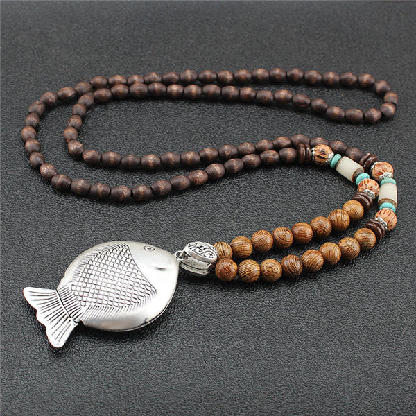 Ocean Charity Jewelry Vintage Mala Wood Bead Handmade Nepal Fish Necklace-seaxox.com