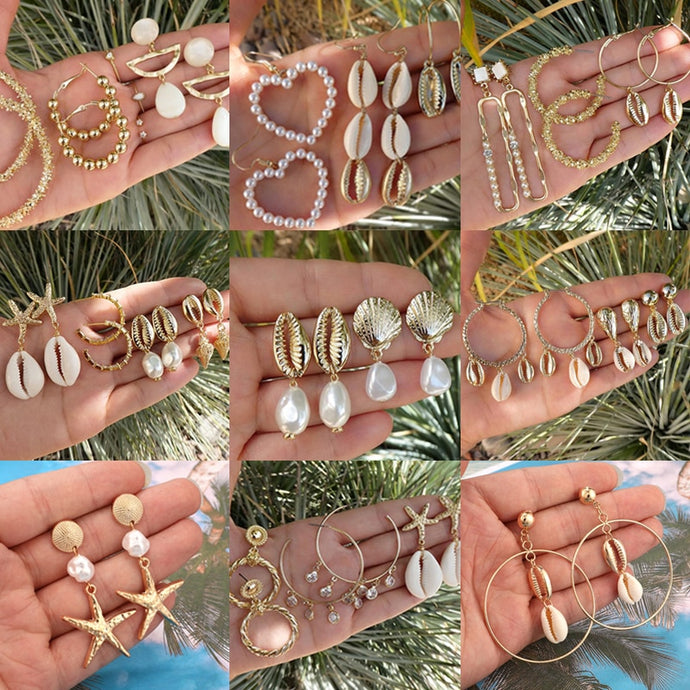 Save Sea Life Jewelry | SeaShell Dangle Drop Earring Sets-seaxox.com