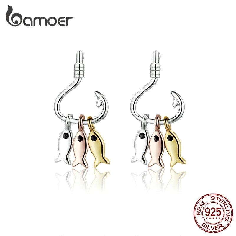 Save Sea Animals Jewelry | Sterling Fish Hook Dangle Earrings-seaxox.com