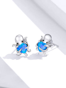 Save Sea Life Jewelry | Sterling Silver Octopus Earrings-seaxox.com