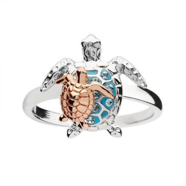 Save Sea Turtle Jewelry | Mother Baby Sea Turtle Ring-seaxox.com