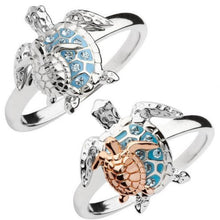 Load image into Gallery viewer, Save Sea Turtle Jewelry | Mother Baby Sea Turtle Ring-seaxox.com
