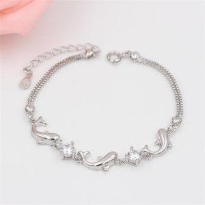 Save Ocean Animals Jewelry | Sterling Dolphin Crystal Bracelet-seaxox.com
