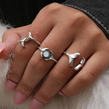Load image into Gallery viewer, Save the Whales Jewelry | Whale Tail Ring Set-seaxox.com