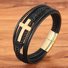 Load image into Gallery viewer, Ocean Conservation Jewelry | Christian Multi Layer Leather Bracelet-seaxox.com