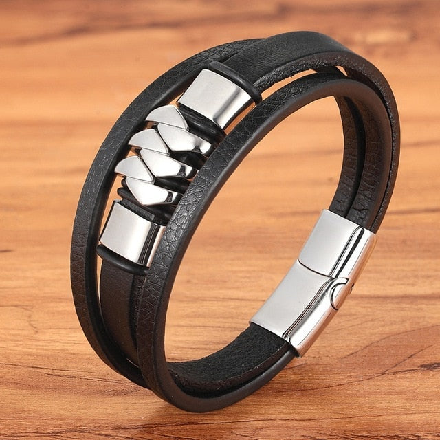Ocean Conservation Jewelry | Retro Stainless Leather Bracelet-seaxox.com
