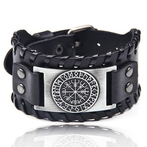 Ocean Conservation Jewelry | Viking Leather Cuff Bracelet 26 Styles-seaxox.com