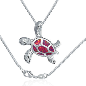 Save the Sea Turtle Necklace Rose Pink Opal Hawaiian Style-seaxox.com
