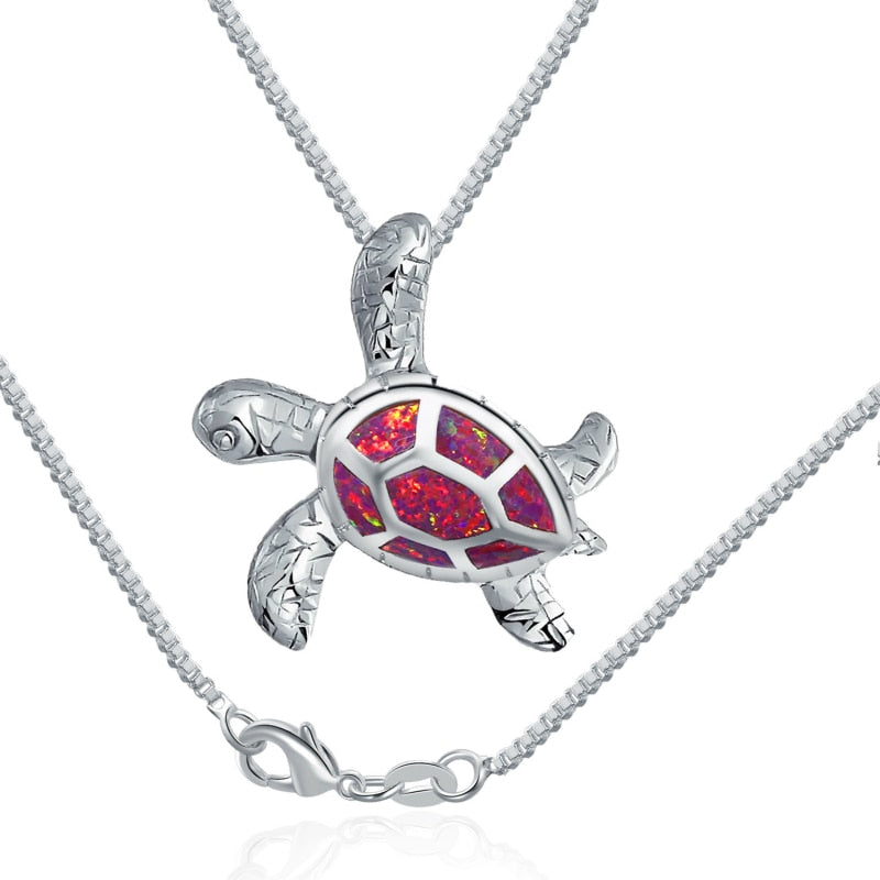Save Sea Turtle Jewelry | Sea Turtle Necklace Rose Opal-seaxox.com