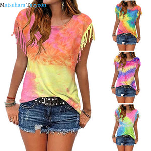 Boho Women Cotton Cute Tassel Casual T-shirt Sleeveless Tie-dyed Color 6 STYLES-seaxox.com
