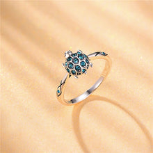 Load image into Gallery viewer, Save Sea Turtle Jewelry | Sterling Sea Turtle Ring Crystal-seaxox.com