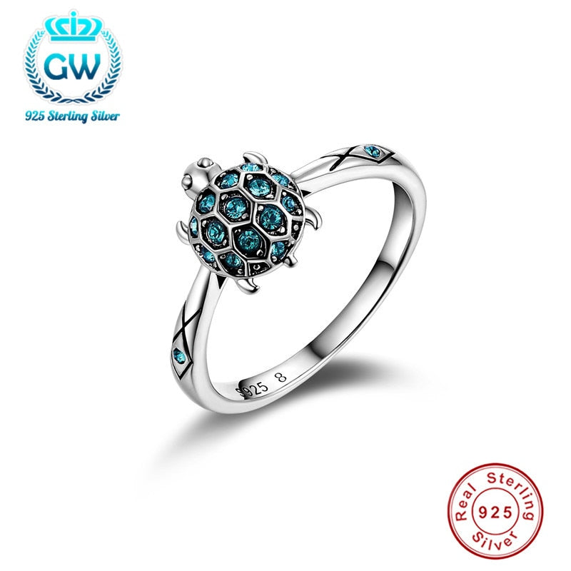 Save the Sea Turtles Jewelry Ring 925 Sterling Sky Blue Clear Crystal Premium-seaxox.com