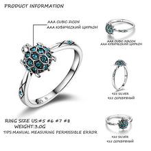 Load image into Gallery viewer, Save the Sea Turtles Jewelry Ring 925 Sterling Sky Blue Clear Crystal Premium-seaxox.com