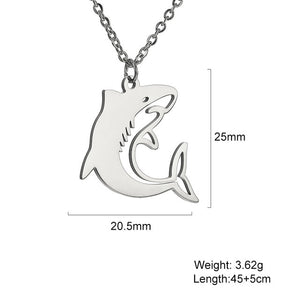 Save the Sharks Jewelry | Breaching Stainless Shark Necklace-seaxox.com