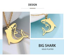 Load image into Gallery viewer, Save the Sharks Jewelry | Breaching Stainless Shark Necklace-seaxox.com