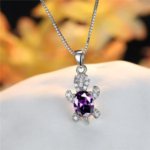 Blue Purple Oval Zircon | Save the Sea Turtle Necklace 17 Styles-seaxox.com