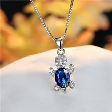 Load image into Gallery viewer, Blue Purple Oval Zircon | Save the Sea Turtle Necklace 17 Styles-seaxox.com