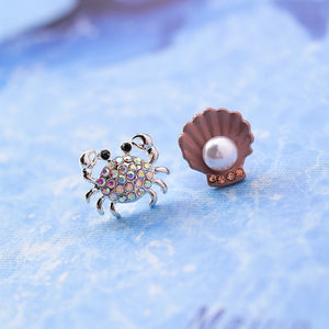 Save Sea Animals Jewelry | Cute Crab Shell Ocean Earrings-seaxox.com