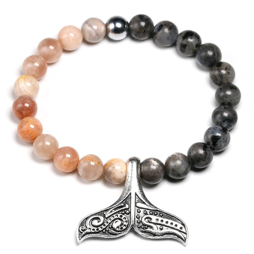 Natural Labradorite Bead 8mm Hematite Save the Whales Bracelet-seaxox.com